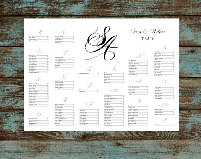 Monogram with Ampersand Seating Chart for Table Assignments Wedding Reception - Printable PDF Digital File