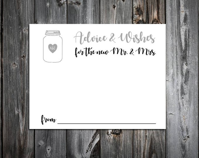 100 Mason Jar Advice and Wishes.  Wedding Favors