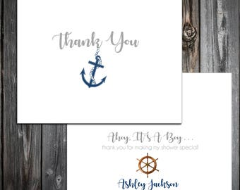 25 Nautical Ahoy It's a boy Baby Shower Thank You Notes. Price includes printing.