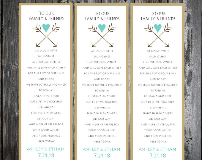 Arrow 150 Wedding personalized and printed Bookmarks Favor