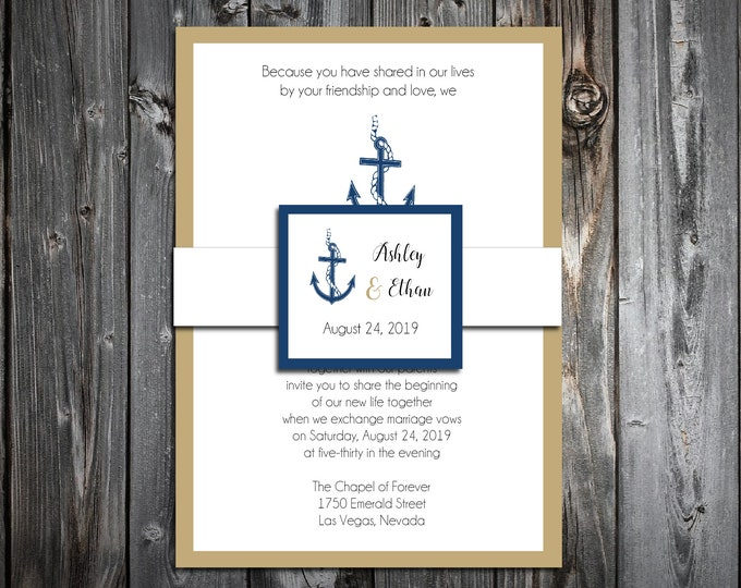 100 Wedding Invitations Belly Bands with Tags - Nautical Anchor Beach - Printed - Personalized
