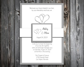 100 Wedding Invitations Belly Bands with Tags - Double Hearts - Printed - Personalized