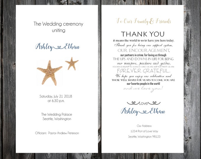 100 Wedding Programs - Beach Starfish - Printed - Personalized