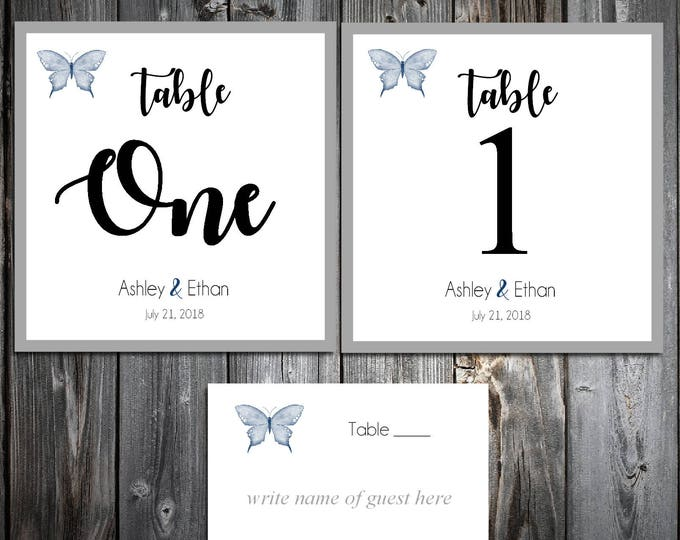 10 Butterfly Table Numbers and 100 place settings
