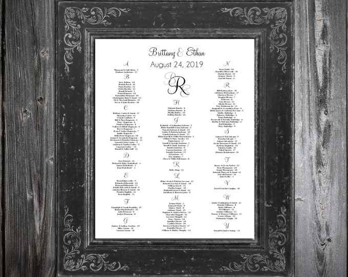 Wedding Seating Chart for Table Assignments for your Wedding Reception - Monogram - Monogrammed Printable PDF File