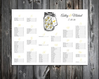 Tree Rustic Fall Seating Chart for Table Assignments for your Wedding Reception - Printable PDF File