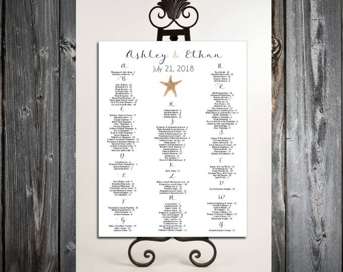 Beach Starfish Seating Chart for Table Assignments for your Wedding Reception - Printable PDF File