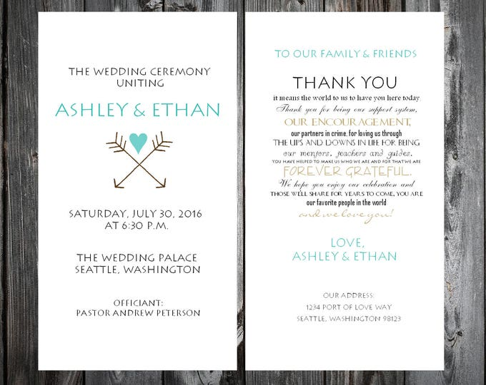 Arrow Wedding Programs 100 Wedding Ceremony Personalized and Printed Programs