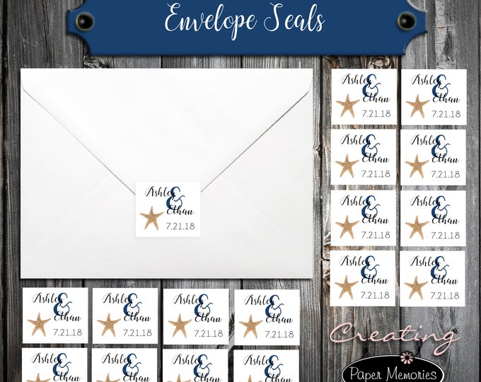 100 Wedding Envelope Seals - Beach Starfish - Printed - Personalized Sticker Labels