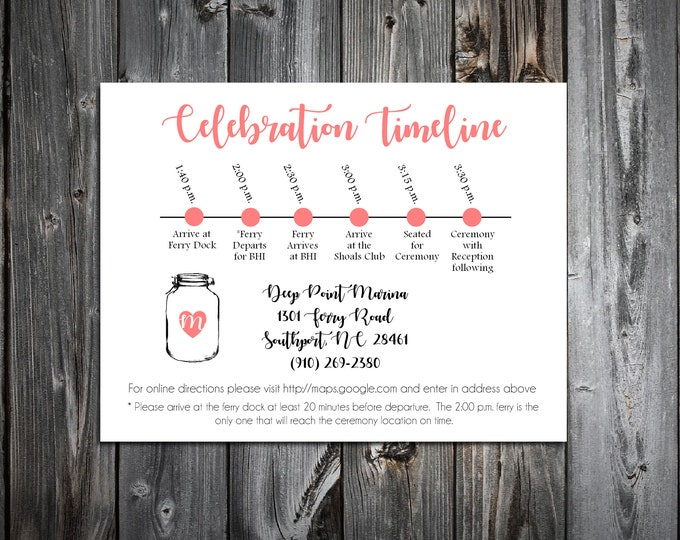 100 Wedding Timeline Itinerary - Mason Jar - Printed - Personalized - Order of Events - Invitations Insert