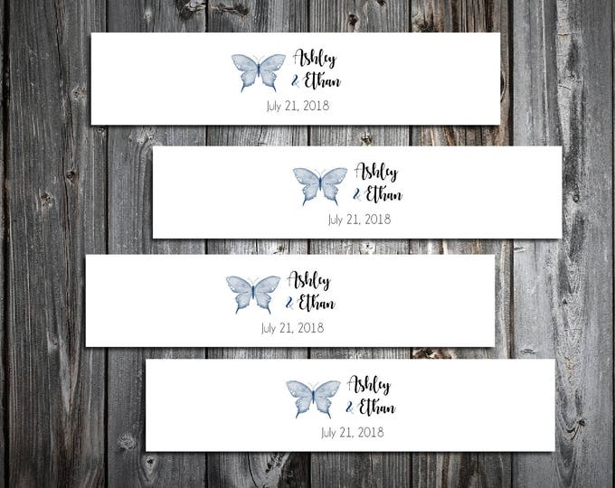 100 Butterfly Wedding Napkin Ring Cuffs Wraps. Personalized Favors