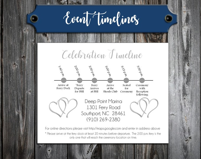 100 Wedding Timeline Itinerary - Double Hearts - Printed - Personalized - Order of Events