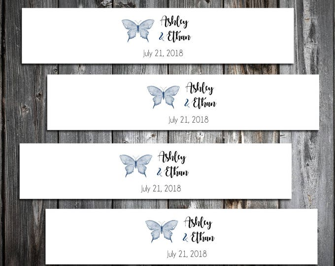 100 Butterfly Wedding Invitation Belly Bands Wraps.  Includes personalization and  printing