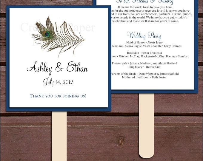 Peacock Feathers Program Fans Kit - Printing Included. Wedding ceremony programs
