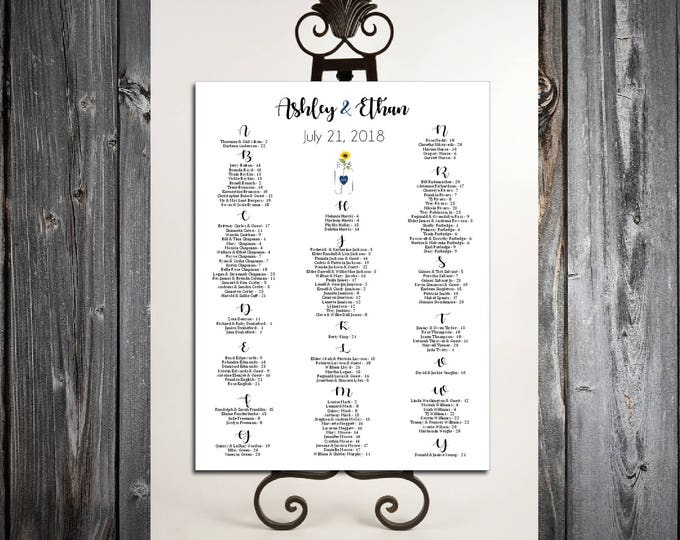 Mason Jar with Sunflower Seating Chart for Wedding Table Assignments for your Wedding Reception - Printable PDF File