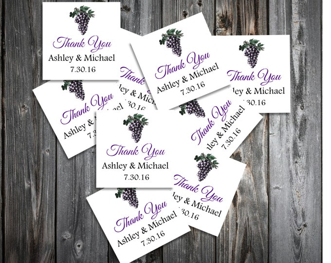 Wine Grapes Rustic Vineyard  100 Wedding Favor Stickers. Personalized and printed square labels.