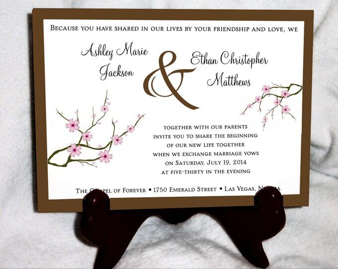 50 Cherry Blossom Pink Wedding Invitations, RSVP's, Reception Insert w/ FREE Calendar Stickers