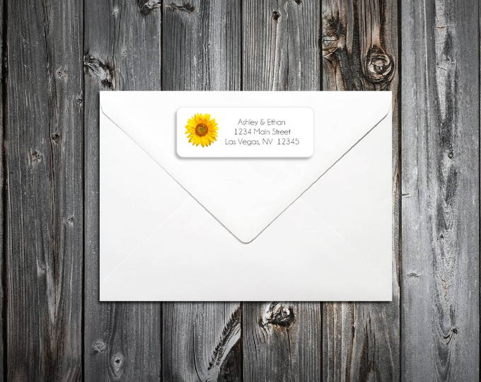 100 Sunflower Wedding Return Address Labels. Personalized self stick label