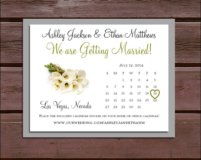 Calla Lily Wedding Save the Date Cards Invitations