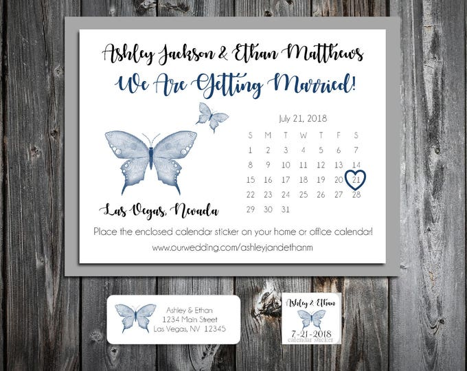 Butterfly Wedding Save the Date Cards Invitations