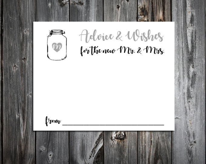100 Wedding Advice and Wishes - Mason Jar - Personalized - Printed Rustic Wedding Favors