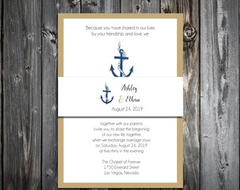 100 Wedding Invitations Belly Bands Wraps - Nautical Anchor Beach - Printed - Personalized