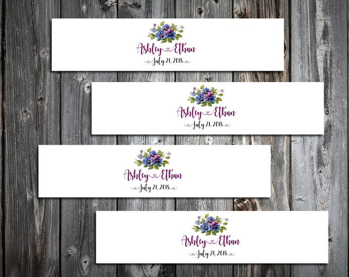 100 Pansies Flowers Wedding Napkin Ring Cuffs Wraps. Personalized Favors - monogrammed
