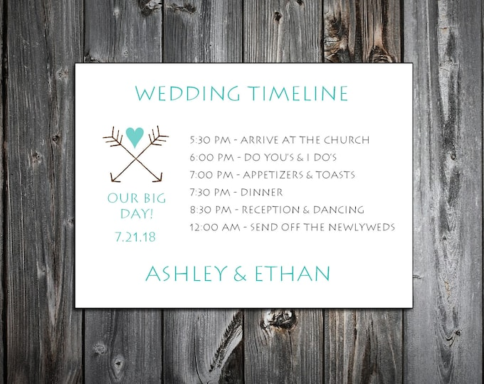 100 Arrow Timeline to include with your Wedding Invitations. Includes printing