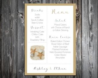 100 Beach Starfish Wedding Menu Cards - Dinner Menus