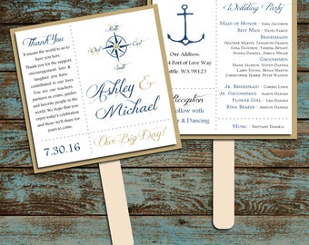 Nautical Compass Anchor Program Fans Kit - Printing Included. Wedding ceremony programs