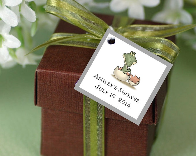 25 DINOSAUR Baby Shower Favor Tags.  Price includes personalization, printing.