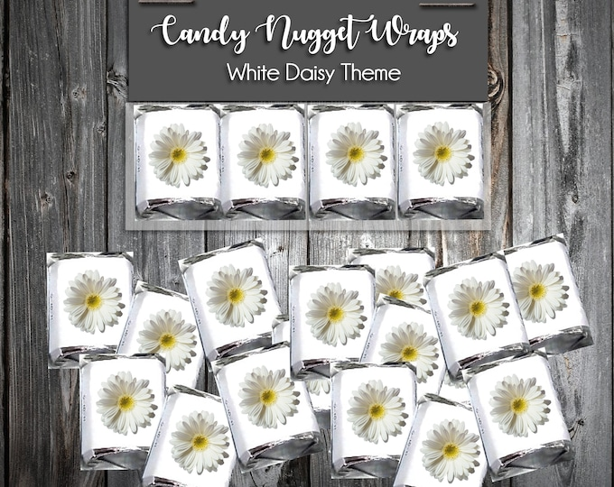 100 Candy Chocolate Wraps - White Daisy - Personalized Wrappers - Printed - Wedding Favors