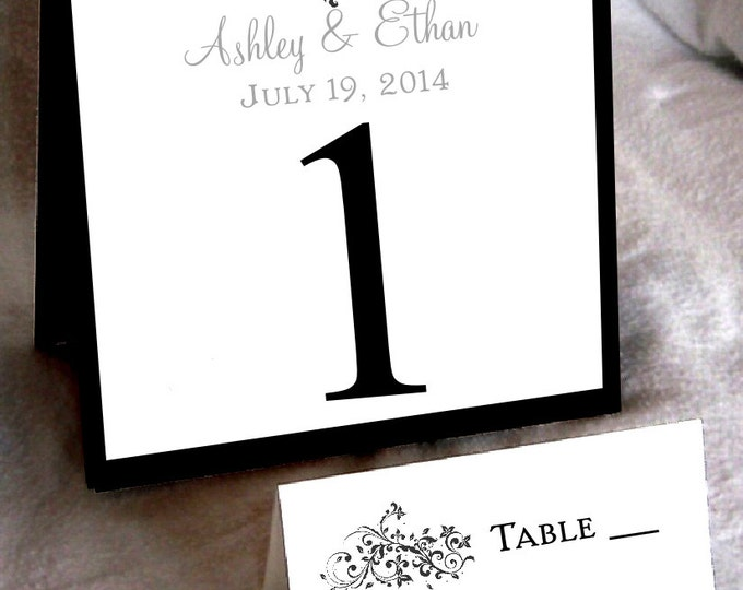 25 Damask Swirl Table Numbers and 250 place settings
