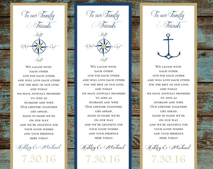 150 Wedding Bookmarks Nautical Compass Anchor personalized and printed Favors