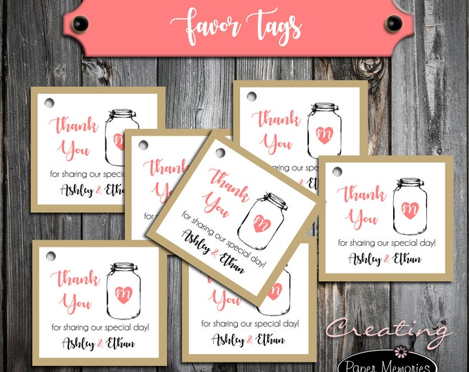 100 Wedding Favor Tags - Mason Jar - Printed - Personalized - Wedding Favors - Rustic - Barn - Country