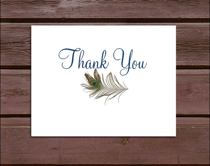 50 Peacock feathers Wedding Thank You Notes