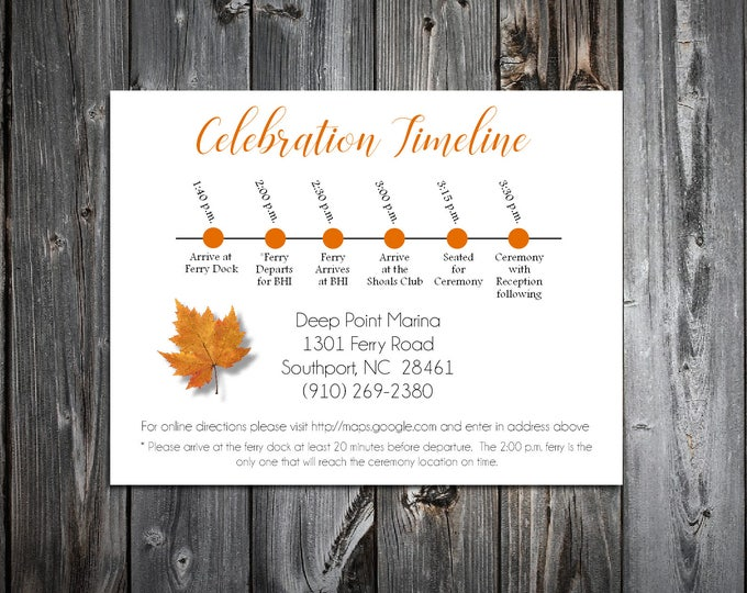 100 Fall Leaf Timeline to include with your Wedding Invitations. Includes printing