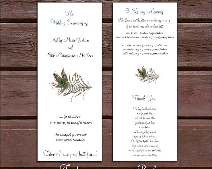 100 Peacock Feathers Wedding Ceremony Programs