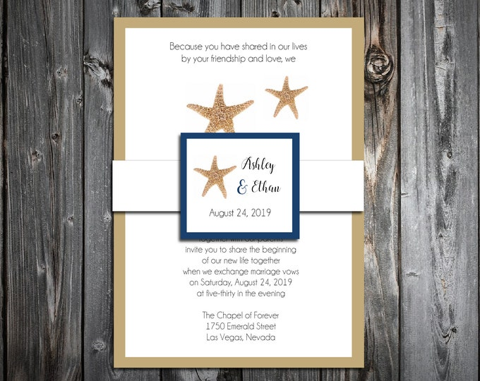 100 Wedding Invitations Belly Bands with Tags - Beach Starfish - Printed - Personalized