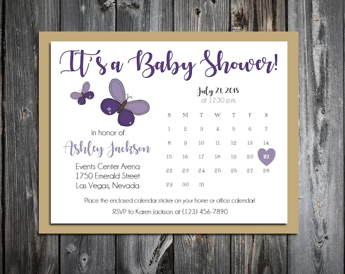 25 Purple Butterfly Baby Shower Invitations set - Price includes personalization and printing and Free Calendar stickers