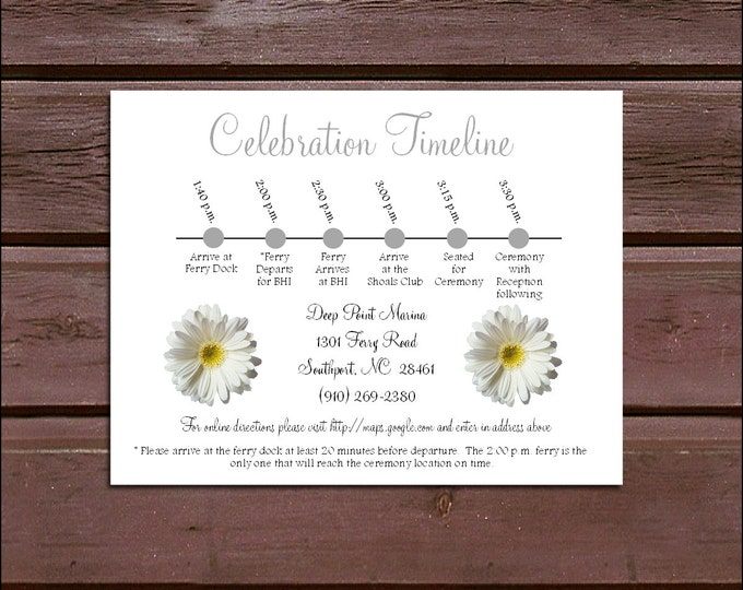 100 White Daisy Timeline to include with your Wedding Invitations. Includes printing