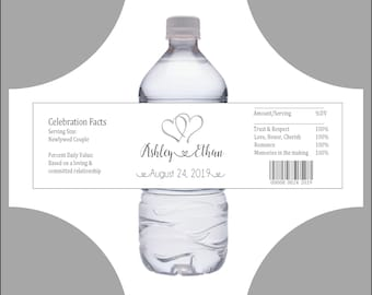 50 Wedding Water Bottle Labels - Favor Wraps - Double Hearts - Printed - Personalized