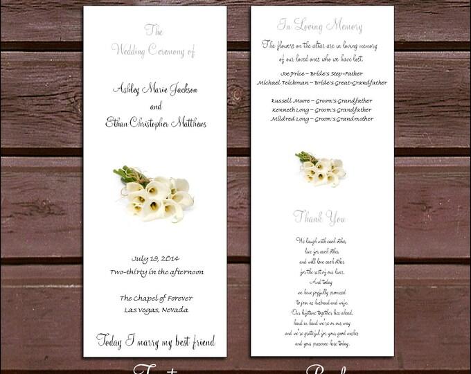 150 Calla Lily Wedding Ceremony Programs