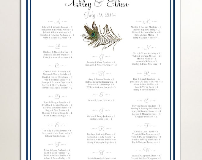 Peacock Feathers Seating Chart for Wedding Table Assignments for your Wedding Reception - Printable PDF File