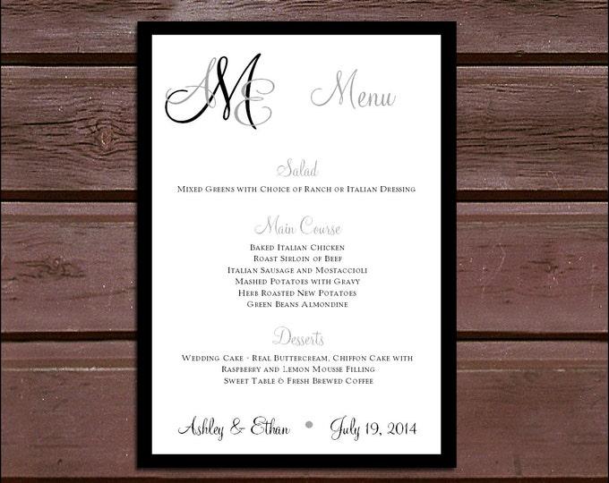 100 Monogram Wedding Menu Cards - Dinner Menus - monogrammed
