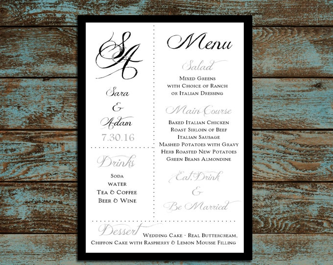 Monogram with Ampersand Menus. 100 Personalized and Printed Wedding Menu Cards.  Dinner Reception.  Food Choices.