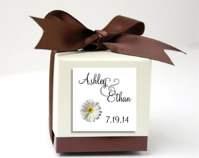 100 White Daisy Wedding Favor Stickers. Personalized printed square labels are 2 inches by 2 inches.