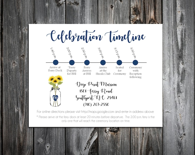 100 Wedding Timeline Itinerary - Mason Jar with Sunflower - Printed - Personalized - Order of Events