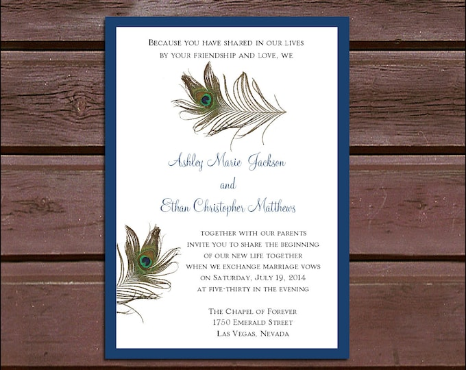 Peacock Feathers Wedding Invitations, RSVP's, Reception Insert w/ FREE Calendar Stickers