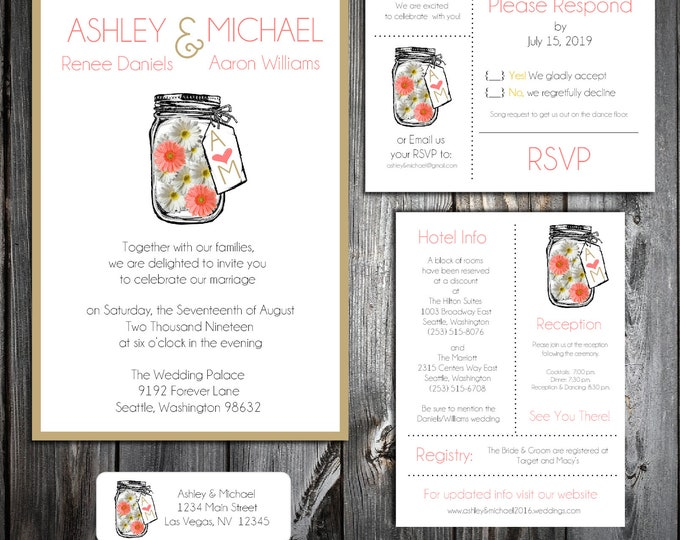 Mason Jar with White and Coral Daisies Wedding Personalized Printed Invitations, RSVP, Reception Hotel Inserts